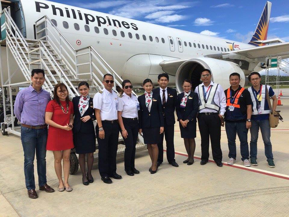 Philippine Airlines cabin crew and its A320 aircraft in Caticlan Airport. (photo courtesy of Philippine Airlines)