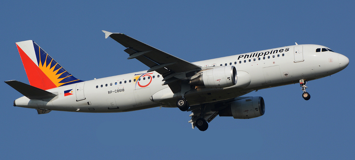 A flying Philippine Airlines Airbus A320.